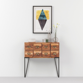 Industrial chest with decor and contemporary painting