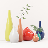 Decorative set of seven vases