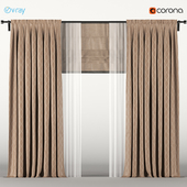 Brown curtains with roman blinds + white tulle.