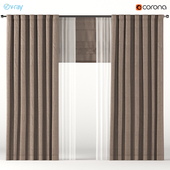 Dense brown curtains with white tulle + Roman blinds.