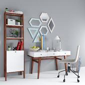 West Elm Modern Desk & Narrow Tower & Slope Upholstered Office Chair