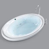 """KOHLER """"Purist"""" bath with spa package and reversible drain"""