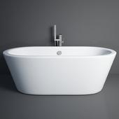 Ванна Wyndham Collection Mermaid 5.58 ft. Center Drain Soaking Tub in White