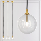 Glass Globe mobile PENDANT 6 brass