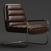 chestnut faux leather lounge chair