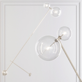Restoration Hardware Glass Globe Mobile BOOM FLOOR LAMP nickel
