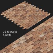 Тротуарная плитка. 20 текстур. Красная