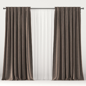 Brown velvet curtains with white tulle.