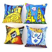 """Pillows from the project """"Naive? Very """"in the drawings of the artist Mikhail Kuznetsov"""