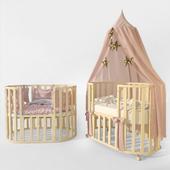 "Oval crib ""Letto Bambini Elegante"" ivory"