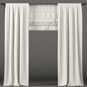 White curtains with roman blinds.