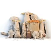 Текстильные игрушки (жираф, слон, черепаха, корова)