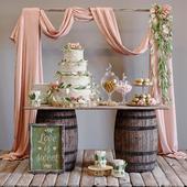Свадебный сладкий стол в стиле rustic wedding