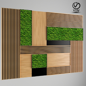 Wall Wood Panel with Moss
