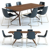 West Elm Wright Table and Slope Chairs