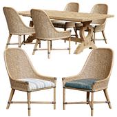 Keeling woven side chair and farmington rectangular dinning table
