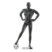 Black mannequin soccer player 34
