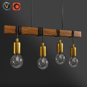 Eglo Townshend Bar Timber And Black Pendant