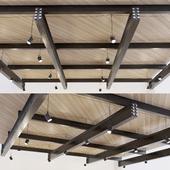 Wooden ceiling on metal beams. 23
