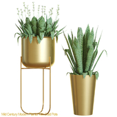 Mid century modern planter with gold pots