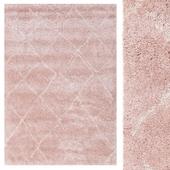 CarpetVista Shaggy Agadir - Soft Rose / Off-White CVD19576