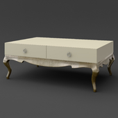 OM Coffee table Fratelli Barri VENEZIA in pearl cream lacquer finish, legs and base in silver leaf finish, FB.ET.VZ.51