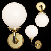 Restoration Hardware BISTRO GLOBE MILK GLASS SINGLE SCONCE Brass and Black