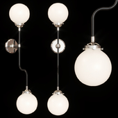 Restoration Hardware BISTRO GLOBE MILK GLASS GRAND DOUBLE BATH SCONCE Nickel and Black