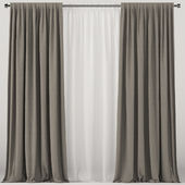 Brown curtains with white tulle.