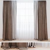Curtains beige with tulle  Шторы современные