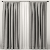 Gray curtains with white tulle.