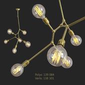 6 bulb vertical angled brass bar chandelier [355x630x800mm]