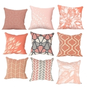 Decorative coral and pink pillows