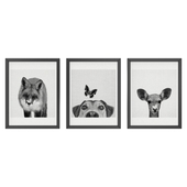 Black and white animals set