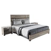 Modrest Picasso Italian Modern Gray Lacquer Bedroom Set