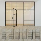 Glass partition. A door. ten