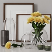 decorative set with yellow chrysanthemums 05