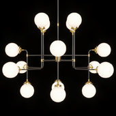 Restoration Hardware BISTRO GLOBE MILK GLASS CHANDELIER 16-LIGHT Brass and Black