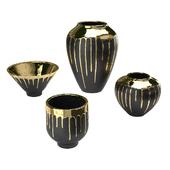 Четыре вазы Isabelina графит с расплавленным золотом