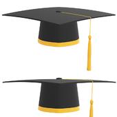 graduation cap with gold tassel