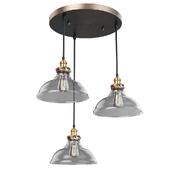ARTCRAFT 3-Light Bronze and Copper Pendant Suspension
