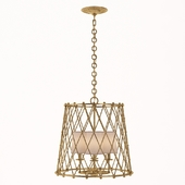 AERIN Casual Edgerly Large Woven Lantern In Gilded With Linen Shades