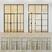 Glass partition. A door. 15