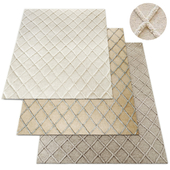 Diamante Flatweave Linen Rug RH Collection