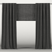 Black curtains with roman blinds.