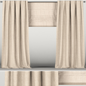 Beige curtains with roman blinds.