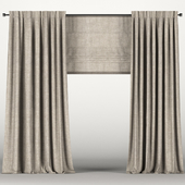 Brown curtains with roman blinds.