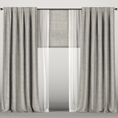 Brown curtains with tulle + Roman blinds.