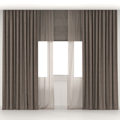 Brown curtains with brown tulle + Roman blinds.
