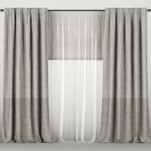 Серые шторы с тюлем и римской шторой.